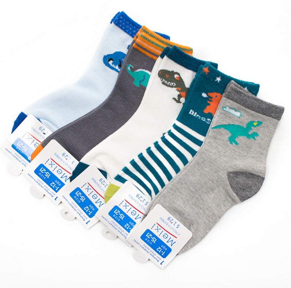 FANTASIEN 5 Pairs Boys Cotton Socks Dinasour Pattern Kids Socks Size Ages 4-7 Years (Dinasour, 4-7T)