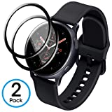 AMOVO [2 Pack] for Galaxy Watch Screen Protector [Active2 44MM] [Full Adhesive] Samsung Galaxy Watch Active2 44MM Glass Screen Protector Compatibe with Case Cover [Tempered Glass] (44MM, Black)