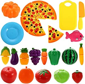 NIWWIN 24 pcs Pretend Food Playset Plastic Kitchen Cutting Fruits and Vegetables Set Pizza Play Food Set for Educational Early Age Puzzle Development Learning Toy