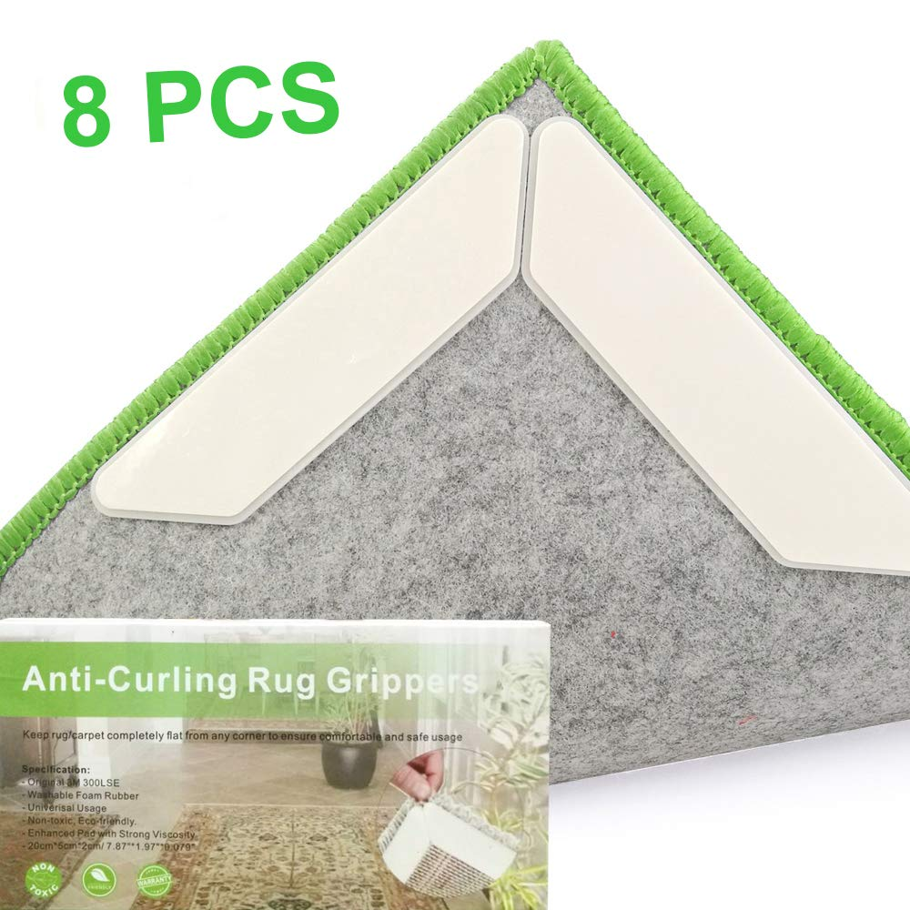 Rug Grippers Carpet Stopper, 24Pcs Rug Anti-Slip Grippers 3M Strong Stickness and Reusable Foam Glue Applied on High Quality Plastic Pad for Door Dining Room Living Room Bathroom Kitchen Home Decor Vencci