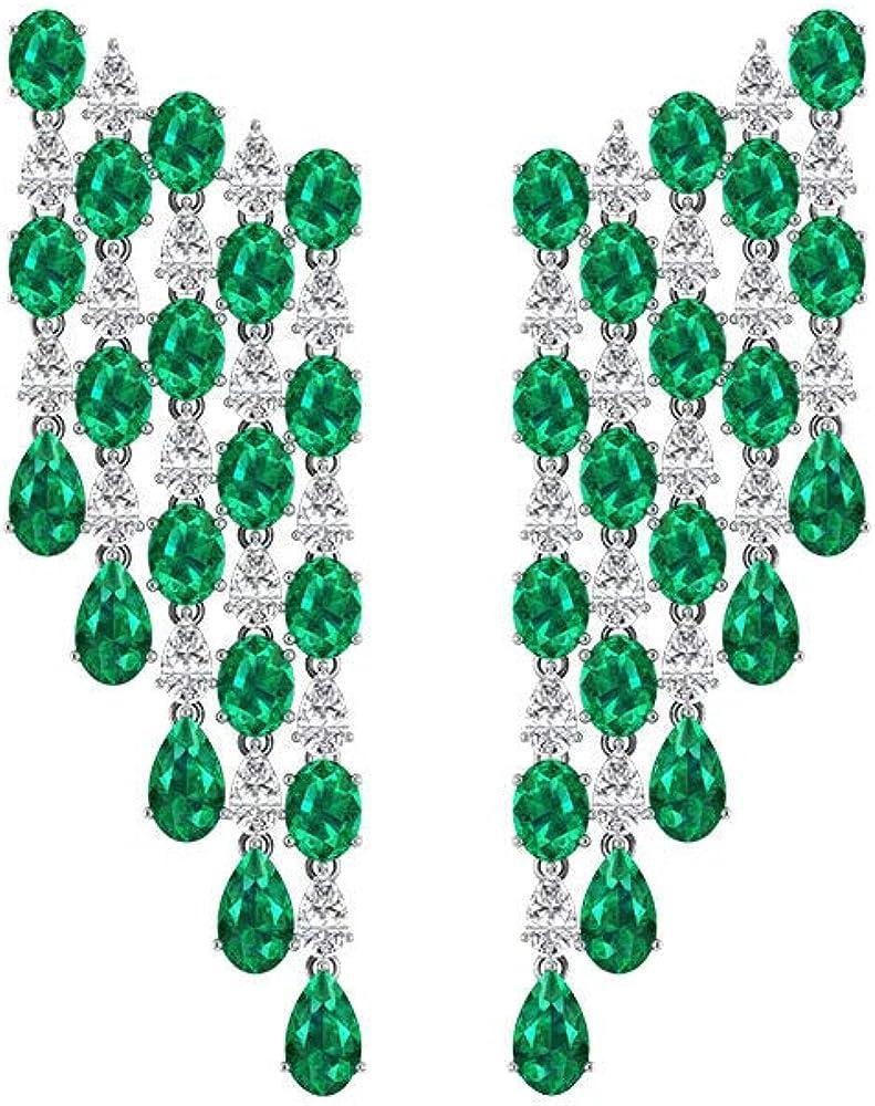 Pendientes de araña de diamantes esmeralda, diseño de lágrima, color verde, ideal para bodas, novias, pendientes largos, tornillo hacia atrás