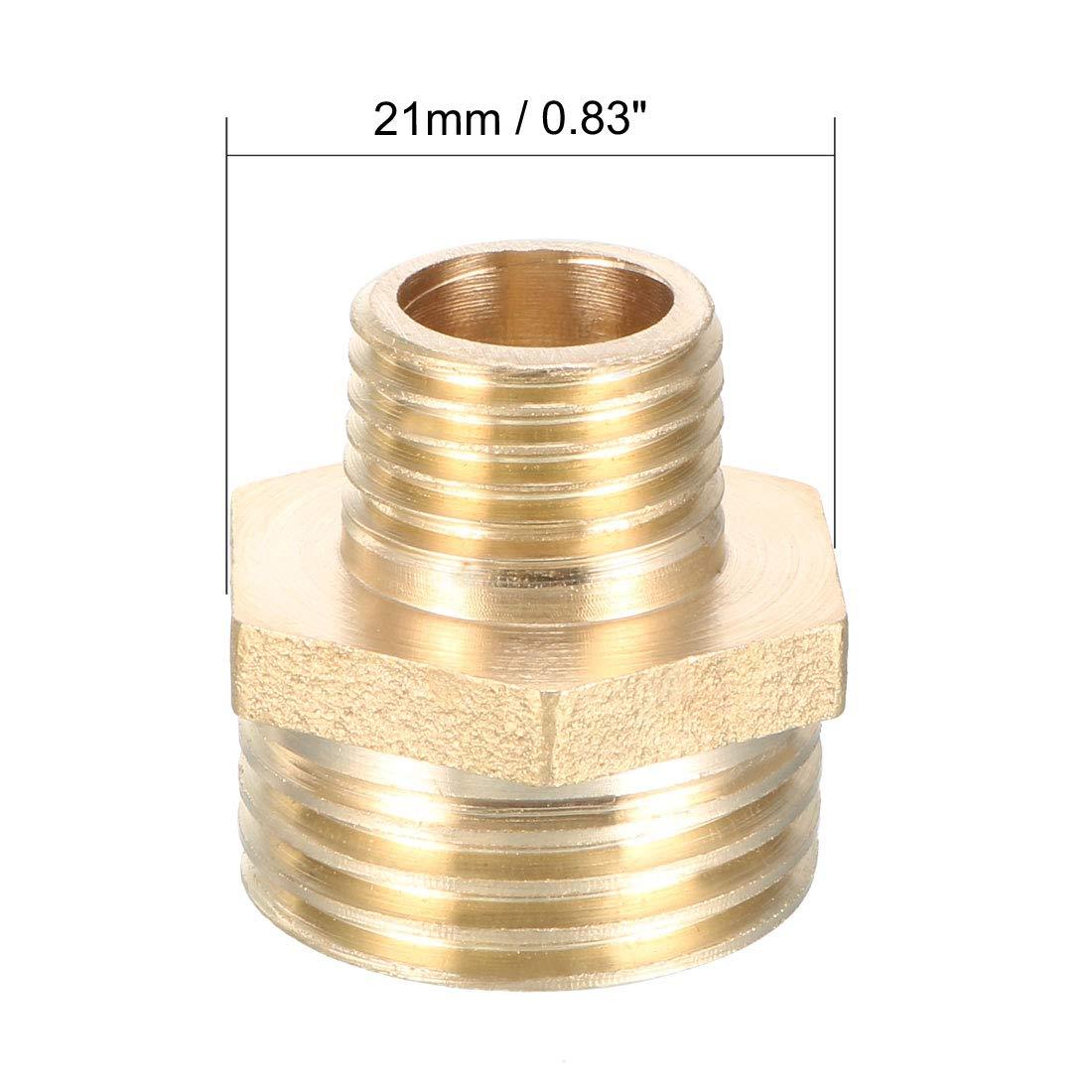 sourcing map Conector Boquilla Roscada adaptador hexagonal reductor de lat/ón para tuber/ías de 3//4 PT macho x 1//4 PT macho