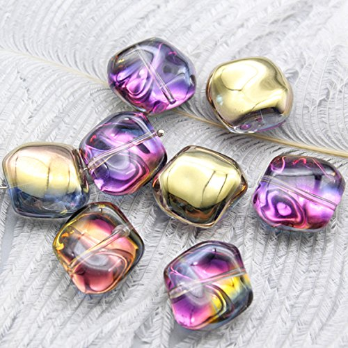 Lampwork Glass Czech Rainbow Spacer Beads, 10 Pack, 3/4 x 5/8 Inch, 1.2mm Hole (Yellow) - Yellow Lampwork Glass