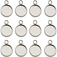 50pcs Fit 12mm Stainless Steel Round Blank Bezel Pendant Trays Base Cabochon Settings Trays Pendant Blanks for Jewelry Making DIY Findings (12mm-50pcs)
