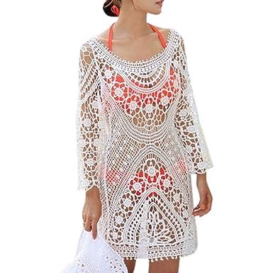 mywy Abito crochet copricostume vestito donna vestitino mare
