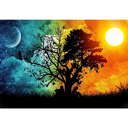 Petift DIY 5D Diamond Painting by Number Kit for Adult,Crystal Rhinestone Full Drill,Drill Canvas Bead,Sun and Moon,Cross Stitch Sticker Arts Craft Kits for Living Room,Home Wall -