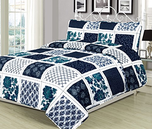 unbrand Navy Stripe Plaid Checkered Quilt Bedding Set Blue Grey and White Size Twin from unbrand