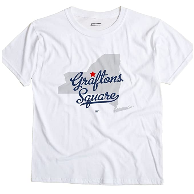2181a779 GreatCitees Graftons Square New York NY MAP Unisex Souvenir T Shirt |  Amazon.com