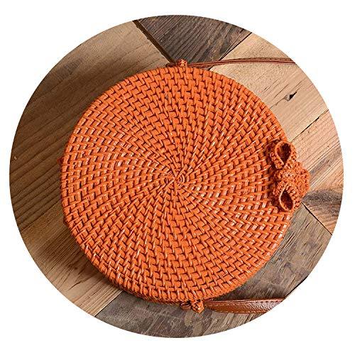 raw Round Women Shoulder Bag Handmade Woven Bohemian Handbag Summer Beach Wicker Bag,Hl-51-Orange 20X8 Cm (Wicker Rap The)
