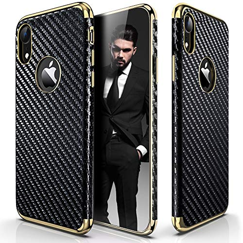 LOHASIC Luxury Leather Case for iPhone XR, 6.1 inch Ultra Slim & Thin Vintage Textured Back Cover Soft Flexible Electroplate Frame Non-Slip Shockproof Cases for iPhone XR (2018) - Carbon Fiber -