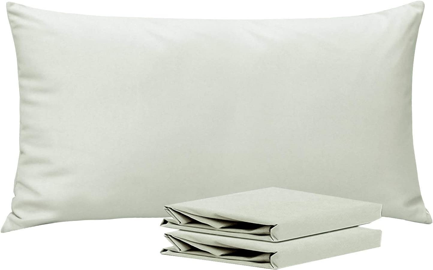 NTBAY King Pillowcases, Set of 2, 100% Brushed Microfiber, Soft and Cozy, Wrinkle, Fade, Stain Resistant, with Envelope Closure, Light Grey