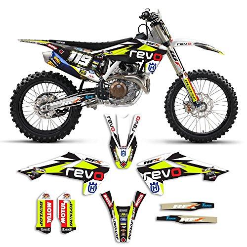 Factory Team Graphics (2016-2017 Husqvarna 125-450 Team Revo Motocross Graphics Kit and Number Plates Bundle Motocross Decals)