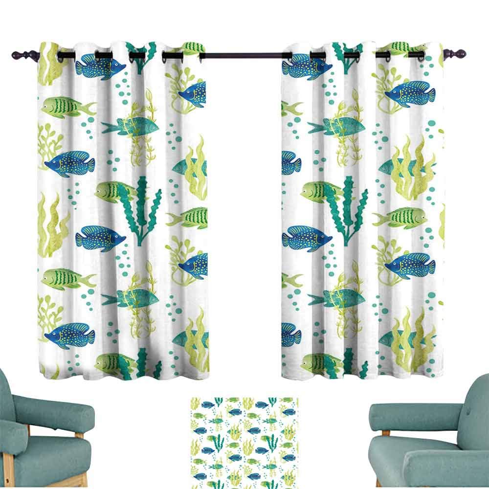 HCCJLCKS Extra Wide Curtains Aquarium Different Tropical Fish and Seaweeds Exotic Marine Watercolor Artwork Set of Two Panels W63 xL72 Avocado Green Teal Blue by HCCJLCKS