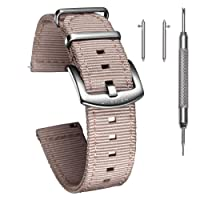 Quick Release Watch Bands - Choice of Color, Width (18mm, 20mm, 22mm or 24mm) - Watch Straps, Quality Nylon Strap and Heavy Duty Brushed Buckle
