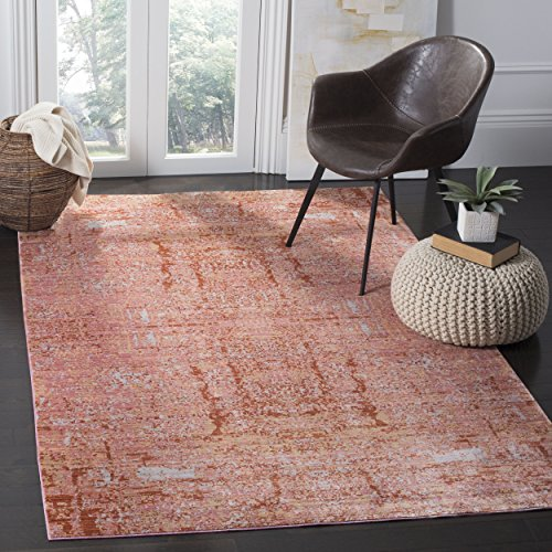 10' Rectangular Rose - Safavieh Mystique Collection MYS971B Vintage Watercolor Rose and Multi Distressed Area Rug (8' x 10')