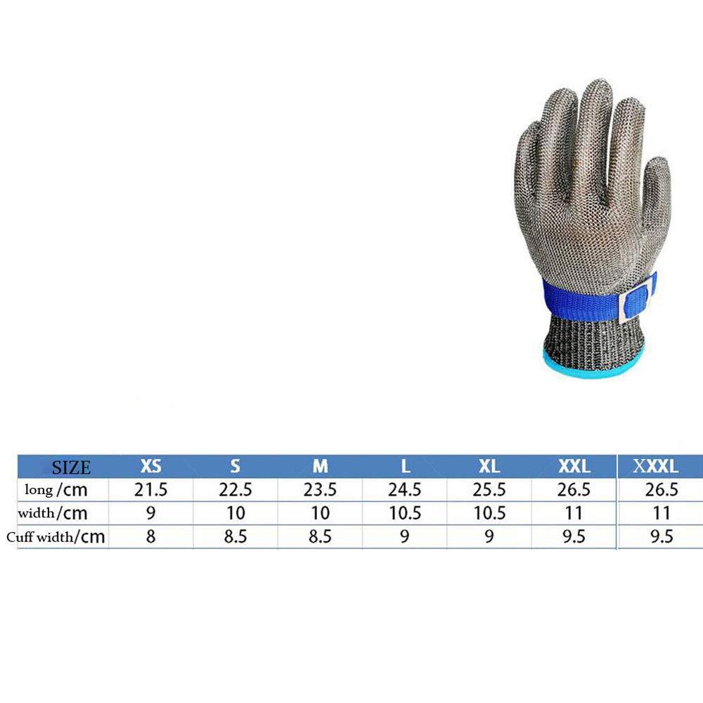 Anelli in Acciaio PE Guanti in Ferro Riparazione del Macello in Metallo Lavorazione del Legno,Grey+Blue-XS ANHPI,Guanti Antitaglio Acciaio Inox Grado 5 Acciaio