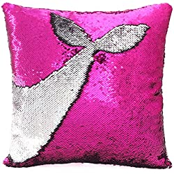"Basumee Mermaid Sequin Pillow with Insert, 16""x16"" Magic Reversible Sequins Cushion for Home Décor (Fuchsia/Silver)"