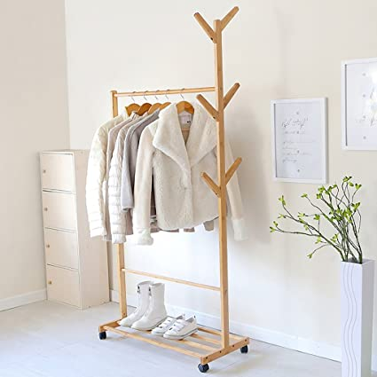 XM ZfgG Simple Coat Rack Creative Living Room Hanger Bamboo Floor Clothes  Rack Bedroom Mobile Storage