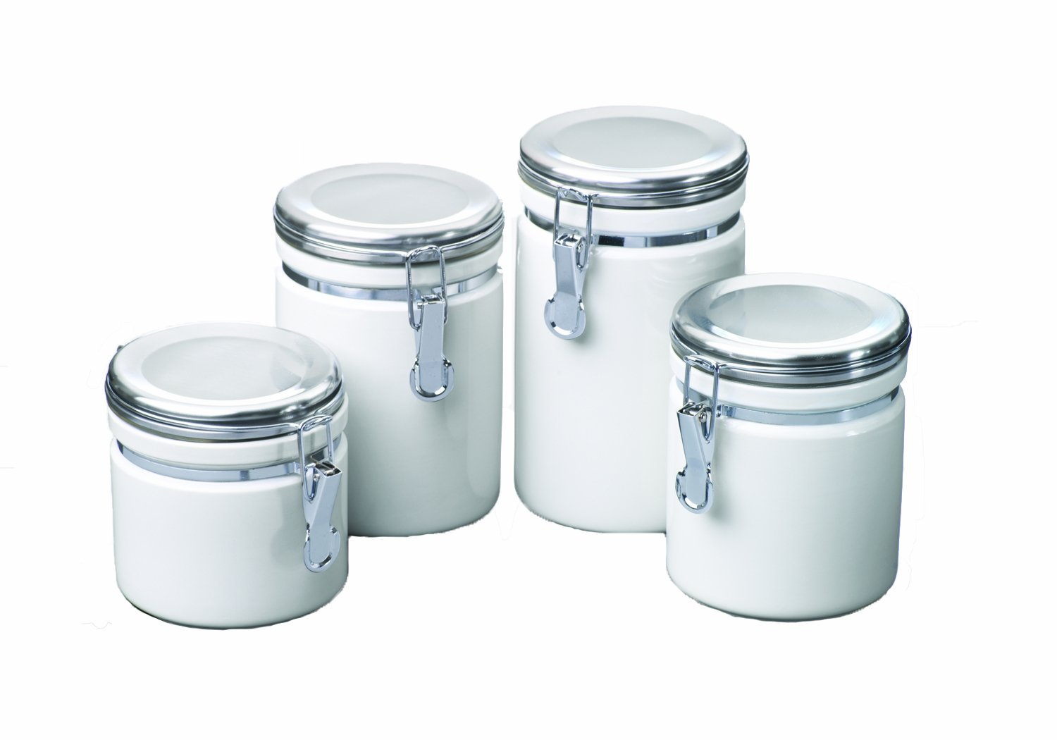 Amazon.com: Anchor Hocking 4-Piece Ceramic Canister Set with Clamp ...