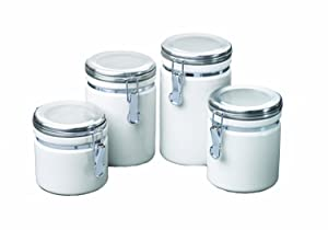 Anchor Hocking 4-Piece Ceramic Canister Set with Clamp Top Lid, White - 03922MR