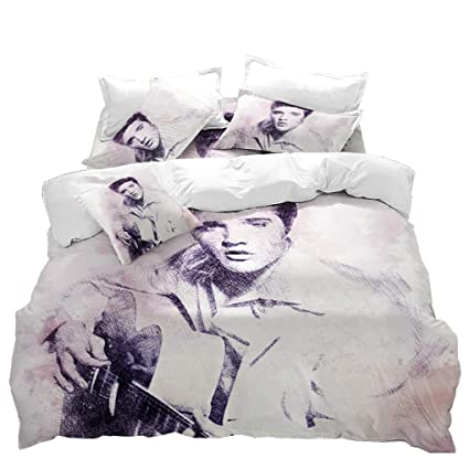 Elvis Presley Bedding Sets.Vitale Duvet Cover Twin Size Elvis Presley Printed Quilt Cover Set 3 Pieces Bedding Set Matching Pillowcases For Home Decoratives Of Bedroom