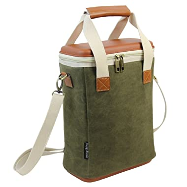 2 Bottle Insulated Wine Carrier, Wax Canvas Cooler Bag with Removable Divider/EVA Molded Travel Beverage Case/Chiller Drink Carrying Tote with Wine Accessory Set - Best Gift for Father Mother