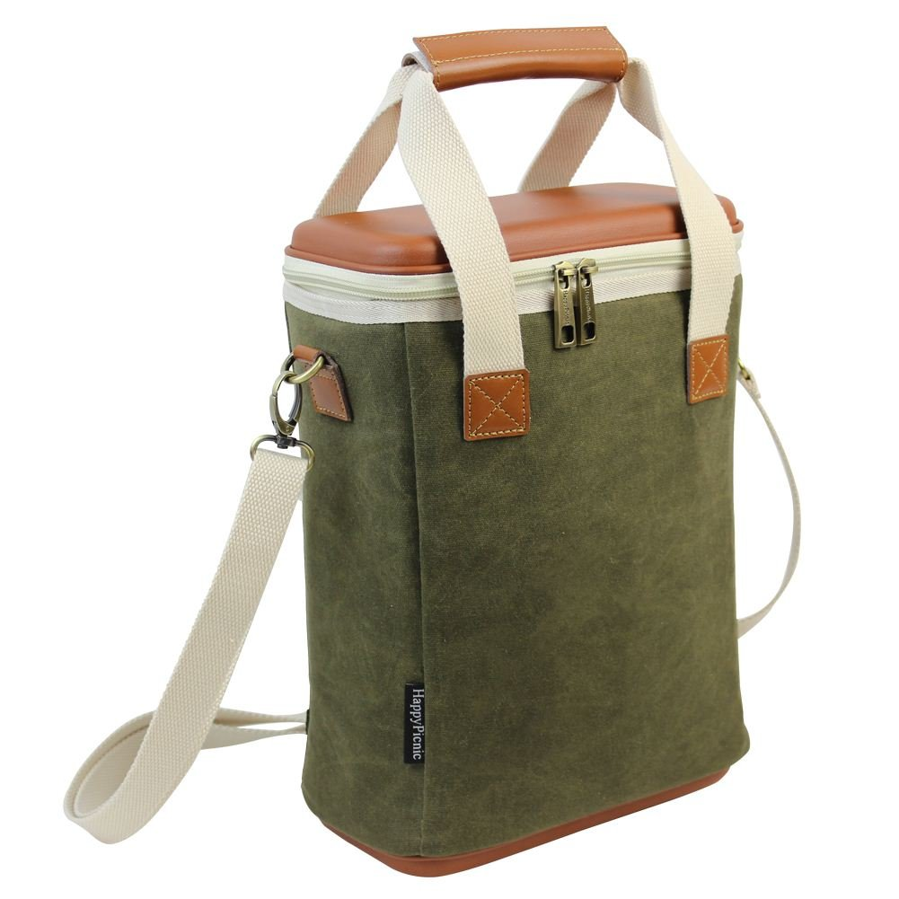 2 Bottle Insulated Wine Carrier, Wax Canvas Cooler Bag with Removable Divider/EVA Molded Travel Beverage Case/Chiller Drink Carrying Tote with Wine Accessory Set - Best Fathers Day Gift