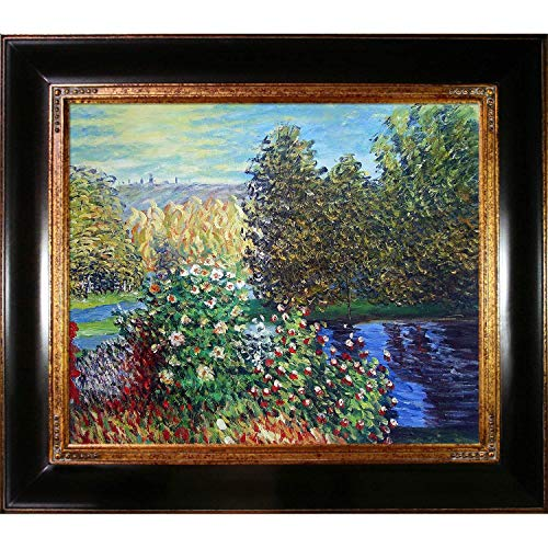 (Hand-Painted Reproduction of Claude Monet Corner of the Garden at Montgeron Framed Oil Painting, 20 x 24)