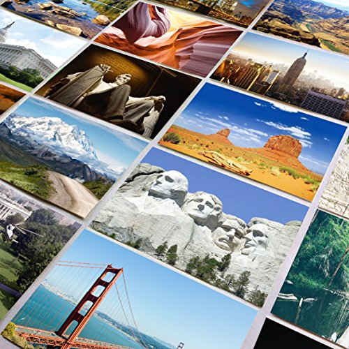 National Monument Postcard (US National Parks and Landmarks - Set of 25 standard 4x6 postcards capturing the beauty of America's most famous National Parks and man made landmarks - Each photo post card has a unique image)
