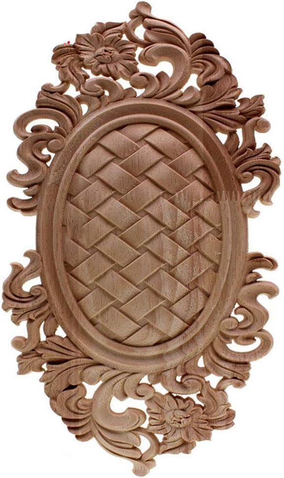 Rubber Wood Carved Onlay Applique Unpainted Furniture for Vintage Home Decor Door Cabinet Decoration Color Figurine 30X17cm