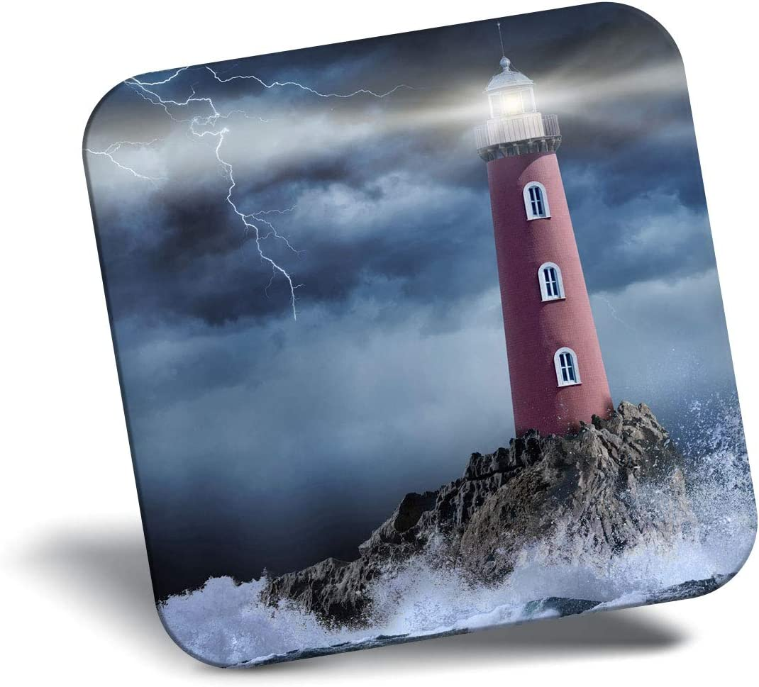 Destination Vinyl ltd Awesome Fridge Magnet - Stormy Seas Lighthouse Sea Wave 12312