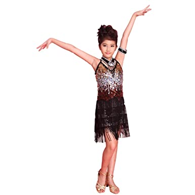 3a44cc440fe0 ESHOO Girls Kids Sequined Latin Salsa Tassel Dancewear Dancing Dress Costume:  Amazon.co.uk: Clothing