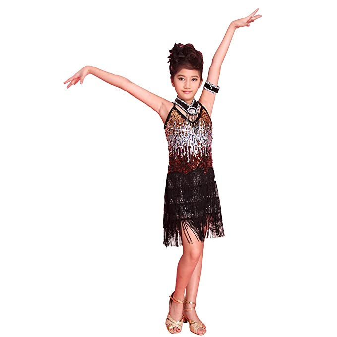 8bf775da586a2 ESHOO Girls Kids Sequined Latin Salsa Tassel Dancewear Dancing Dress Costume  Black