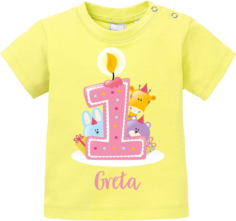 EZYshirt/® Geburtstag Baby T-Shirt Geburtstag niedliche Tiere feiern die erste Geburtstags Party Body Pullover aus Reiner 100/% Bio Baumwolle 1