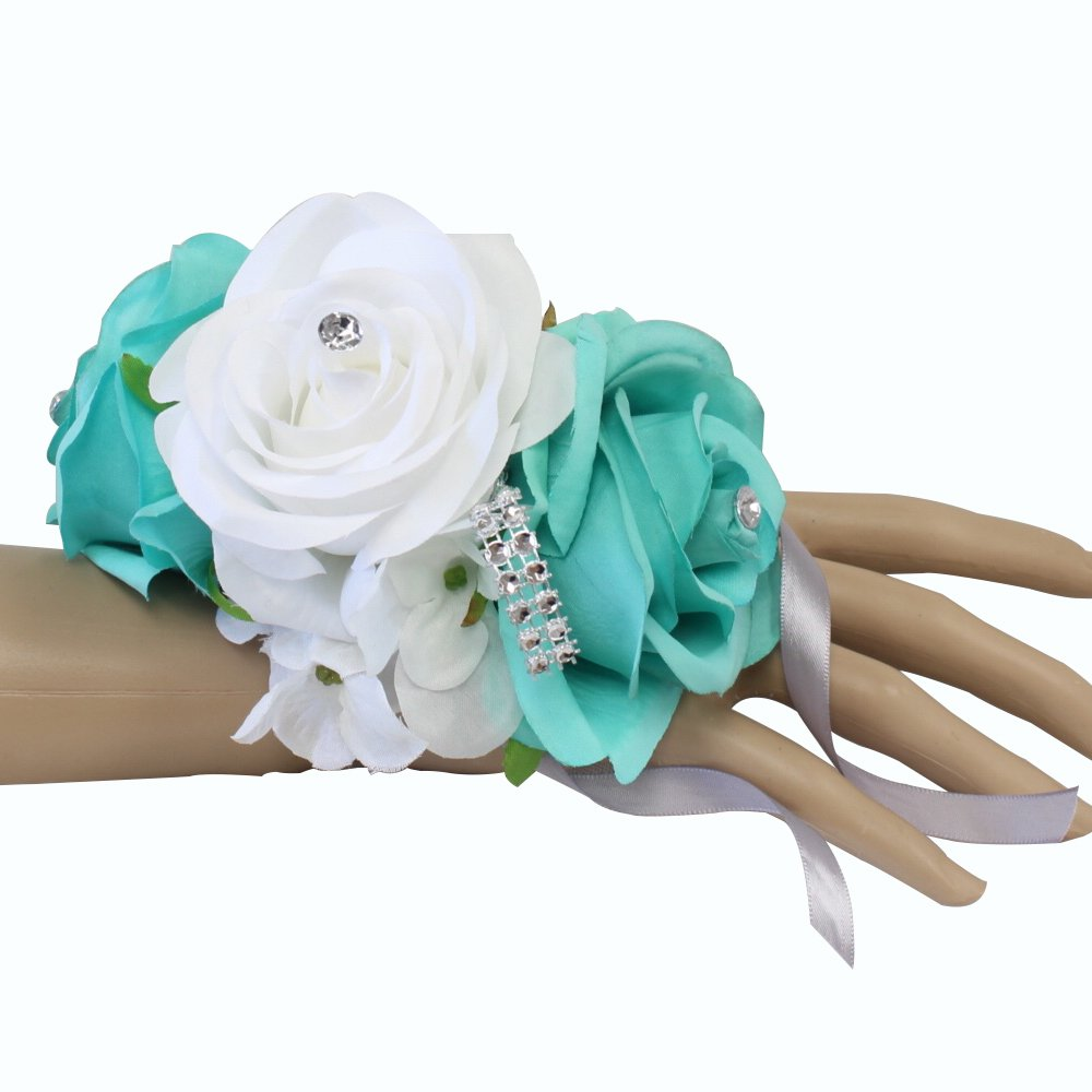 Angel Isabella Wrist Corsage-3 Rose arrangement with Hydrangea keepsake artificial flower prom dance graduation events (Spa White)