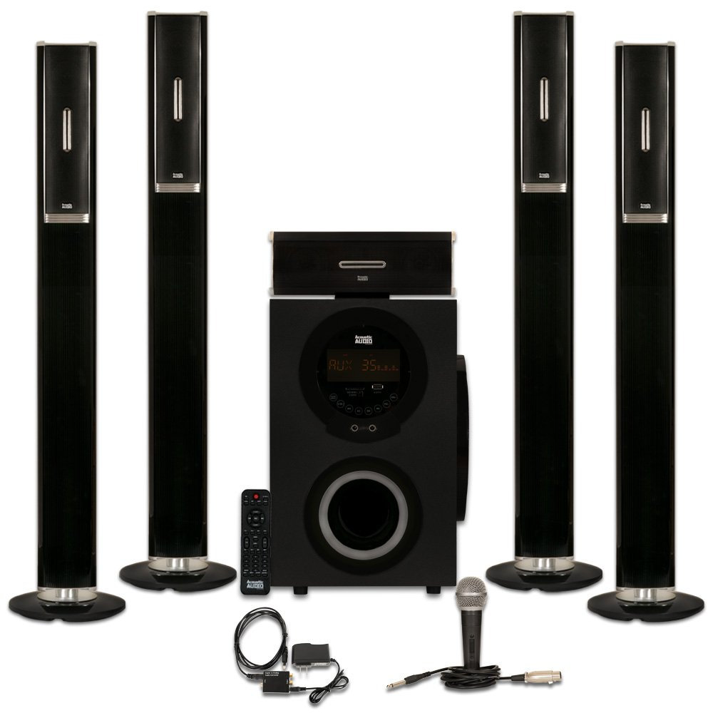 Acoustic Audio AAT3002 Tower 5.1 Home Theater Bluetooth Speaker System with Optical Input and Mic