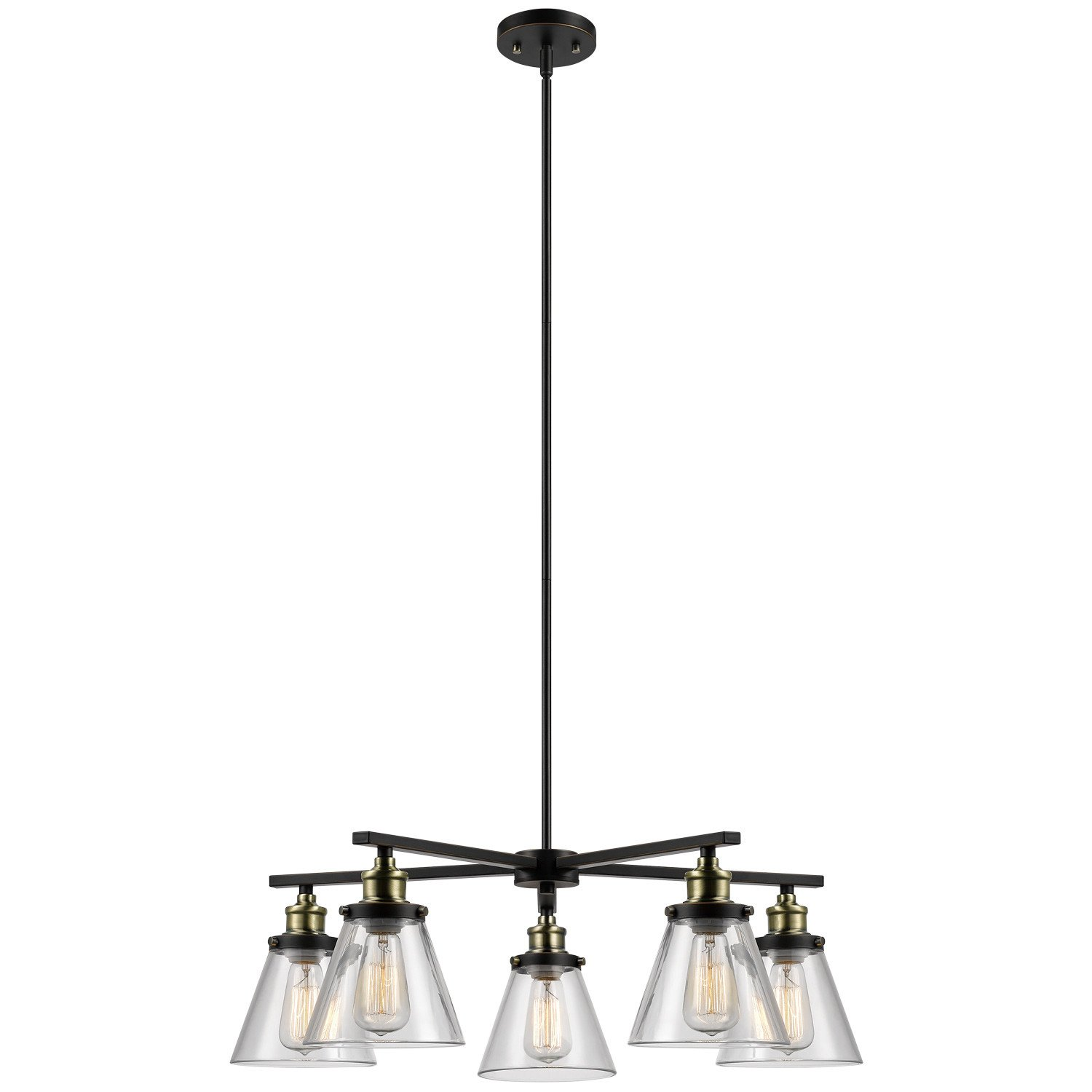 Globe Electric Shae 5-Light Vintage Edison Chandelier, Oil Rubbed Bronze Finish, Antique Brass Decorative Sockets, Clear Glass Shades, 65617 by Globe Electric