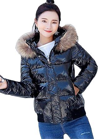 Qikaka Womens Fashion Winter Warm Big Fur Collar Hoodie Short Glossy Down Jacket Slim Casual Coat