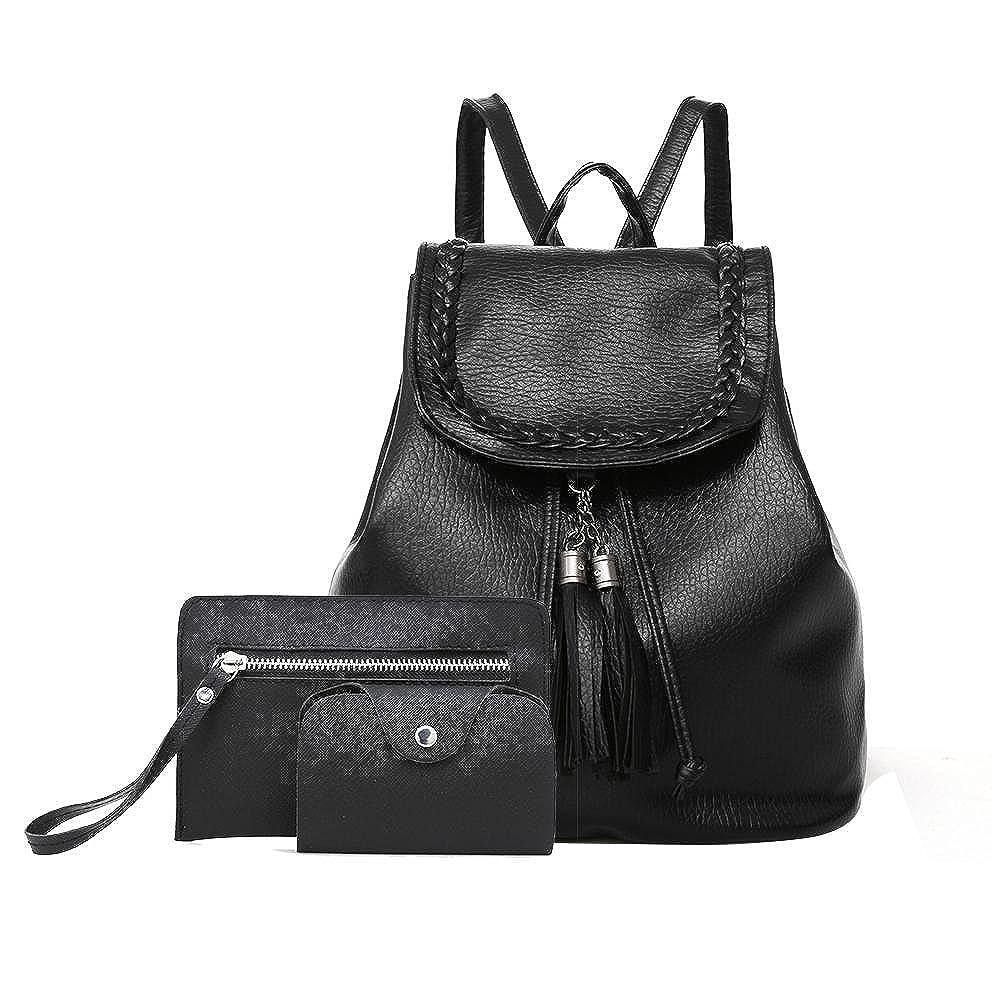 Women Backpack Purse PU Leather Ladies girl 3 Pcs Shoulder Bag Card handbag by yayabb black) NEWBAG-01640