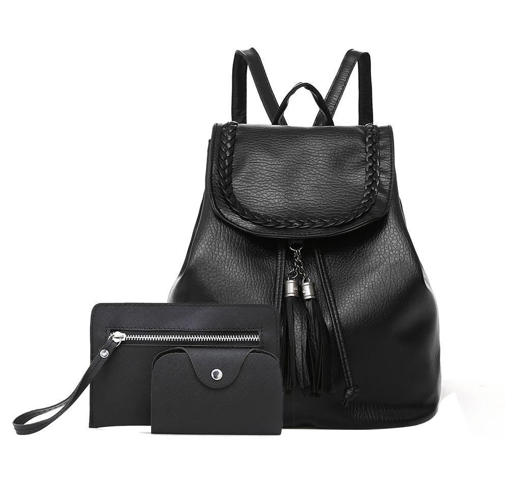 yayabb Female Fashion PU Leather Backpack Satchel Tote Purse Ladies Girls Shoulder Bag for Women Zipper Card handbag 3 Piece Set (onesie, black)
