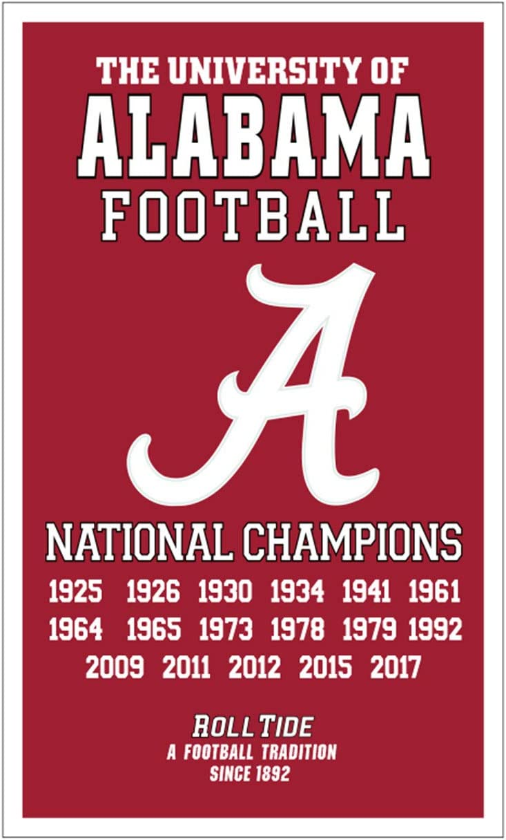 Alabama Crimson Tide 17 Time National Champions Football Flag 3x5 Banner Gifts for Youths Kids Mens Womens