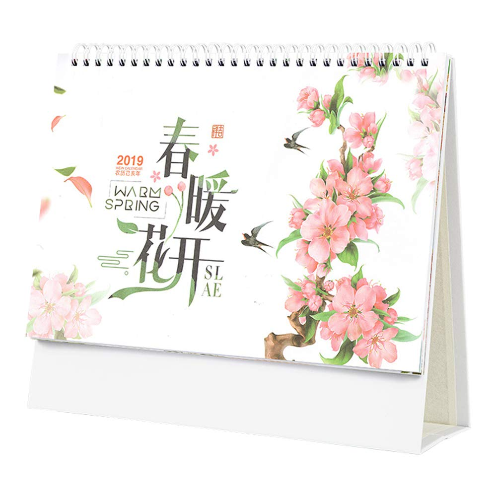 Olpchee Stand Up 2019 Desk Monthly Calendar Simple Creative Table Calendar for Home Office (Style 1)