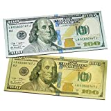 (Set of 2) New One Hundred Dollar $100 Bill Gold & Silver Millionaire Lucky Money Magnet / USA Patriotic Souvenir, Office Desk Board, Door, Fridge, Collectible Magnets