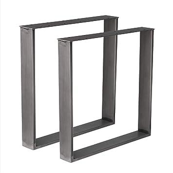 Holzwerk 1 Paire De Pieds De Table Design En Acier Brut Industriel