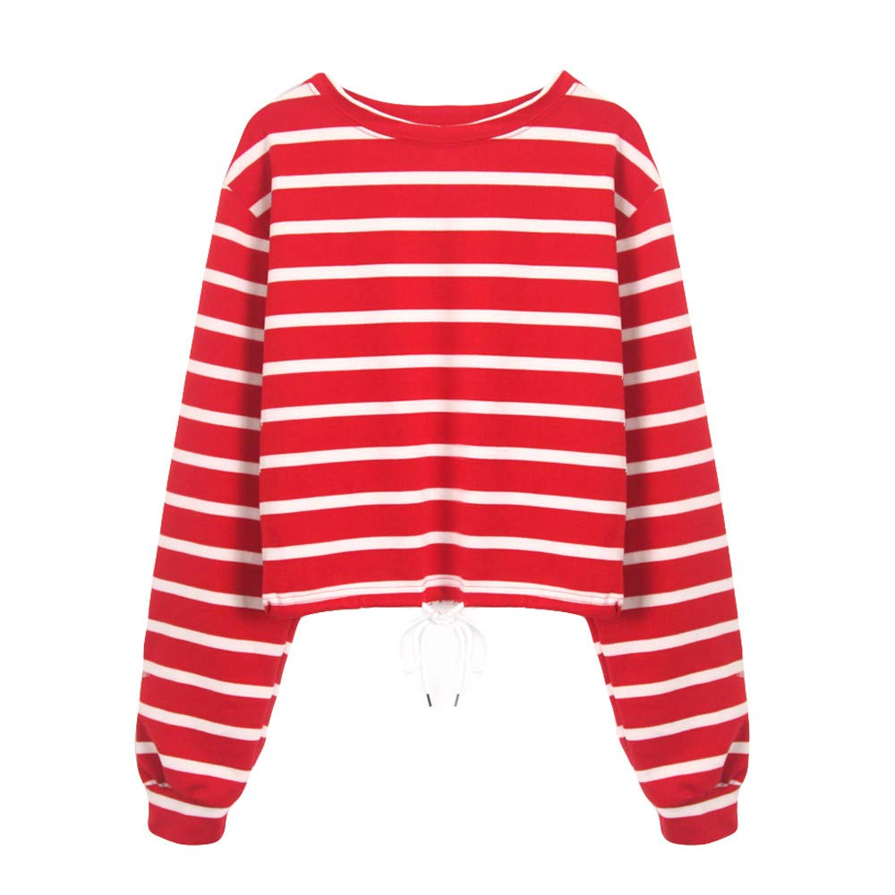 Sannysis Womens Stripe Long Sleeve Bandage Casual Sweatshirt Jumper Pullover Top Blouse, Red XL