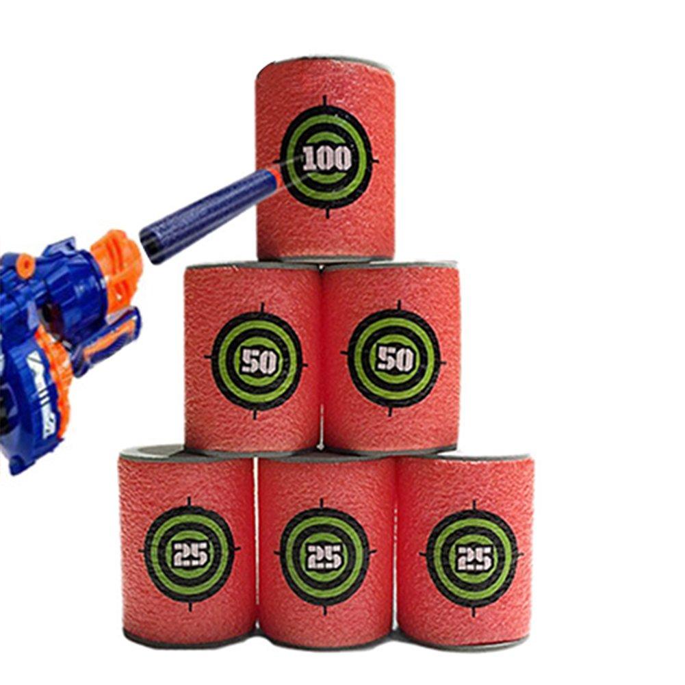 Qiyun 6 piezas de goma EVA suave con objetivo de bala para dardos y pistola de espuma juguete para ni/ños para NERF N-Strike Blasters