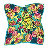 TONY & CANDICE Women's Graphic Print 100% Silk, Silk Scarf Square , 33X33 Inches (Yellow Flowers Print)