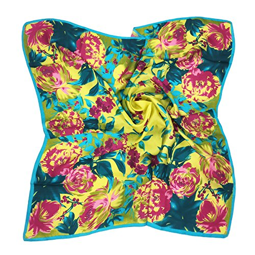 - TONY & CANDICE Women's Graphic Print 100% Silk, Silk Scarf Square , 33X33 Inches (Yellow Flowers Print)