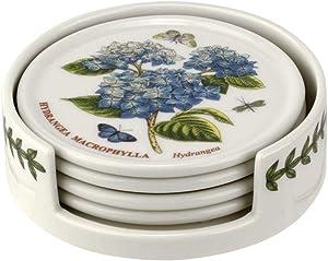 Portmeirion Botanic Garden Coaster Set of 4 & Holder, Ceramic