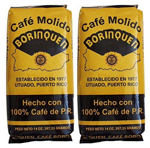 Cafe Molido Borinquen Pure Ground Coffee From Puerto Rico Mountains 14 Ounce Bags  (2 Pack)